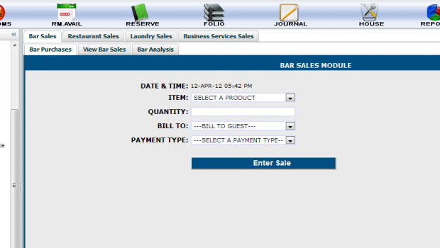 BAR SALES ENTRY SYSTEM