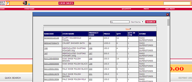 Cashier Search: Cashiers can search and view store items and sell quickly.