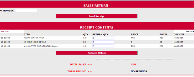 SALES RETURN: Account for items and money even if they are returned without stress