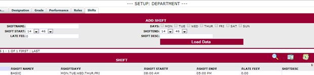 SHIFTS: Create and setup multiple shifts by department or by staff