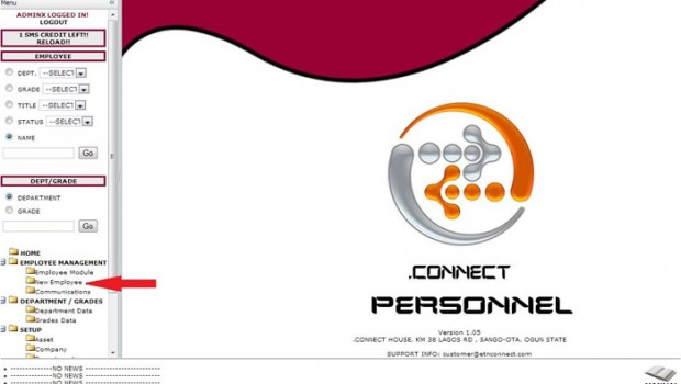.CONNECT PERSONNEL – Loading Employee Information